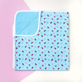 Jersey Baby Blanket- Teal Watermelons with Teal Polkadots