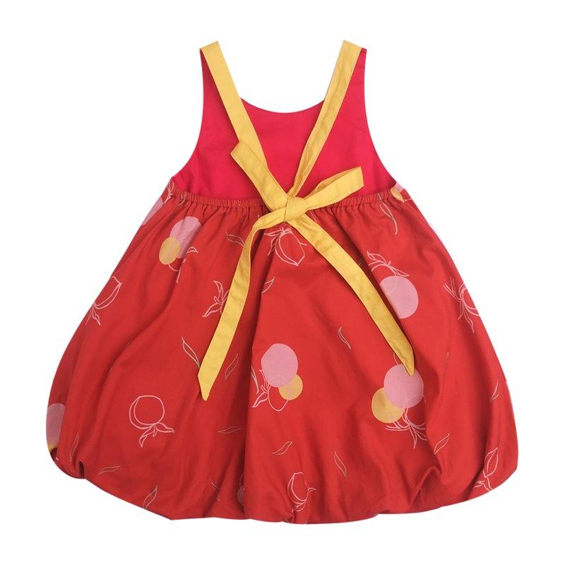 Girls' Bubble Tie Back Dress - Red Longevity Peaches