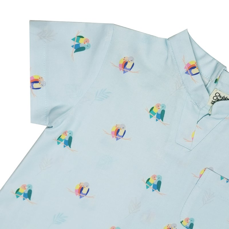 Baby Boy's V Romper -Mint Lovebirds