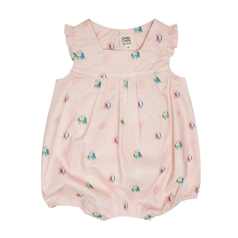 Baby Girl's V Romper - Pink Love Birds Mini