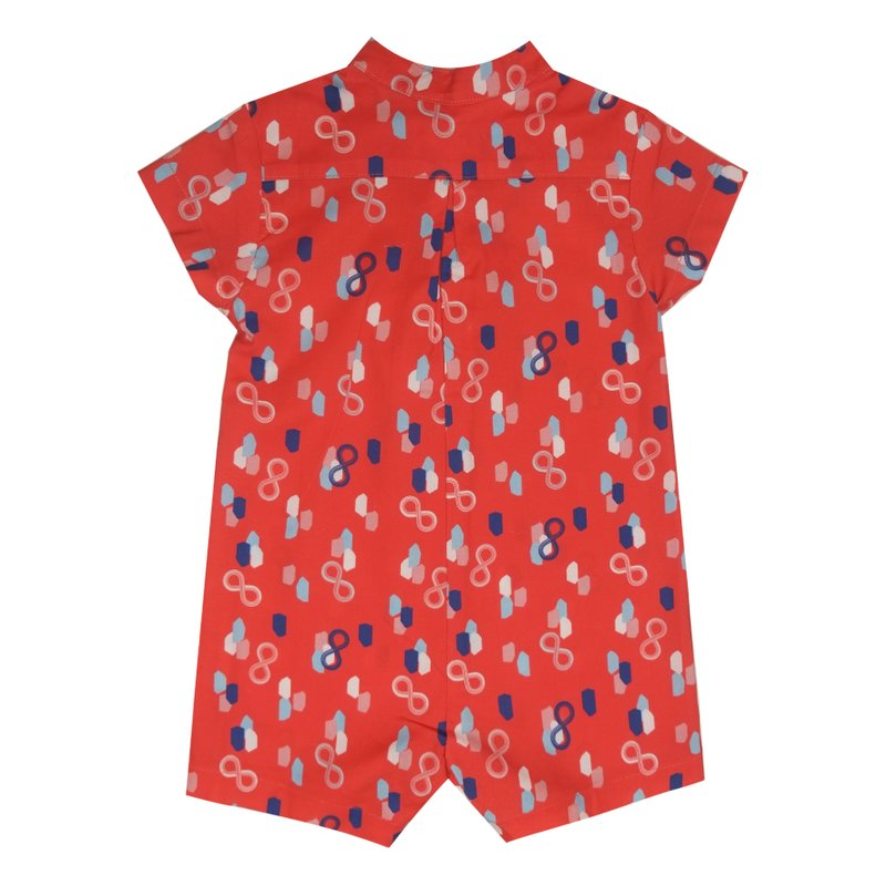 Baby Boy Knot Romper - Red Infinity Huat