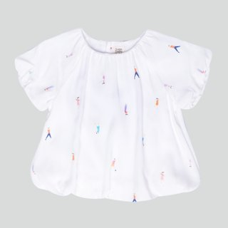 Girl's Bubble Sleeves Top- Let's Dance White