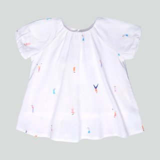 Baby Girl's Puffy Sleeves & Bloomers Set - Let's Dance White
