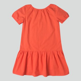 Girl's Puffy Sleeves Dress -Orange