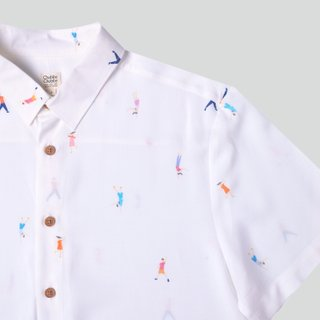 Men's Hexa Shirt- Let's Dance White