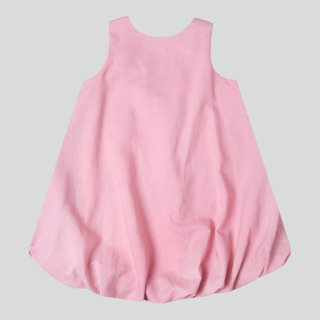 Girl's Square Back Bubble Dress - Dusty Pink Linen