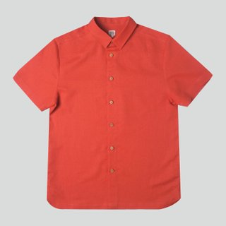 Men's Hexa Linen Shirt- Orange