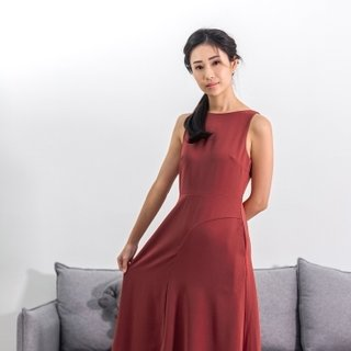 Ladies Asymmetrical Midi Dress - Burgundy Deep Red