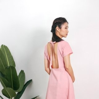 Ladies Open Back Dusty Pink Dress
